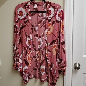 Pink floral kimono.